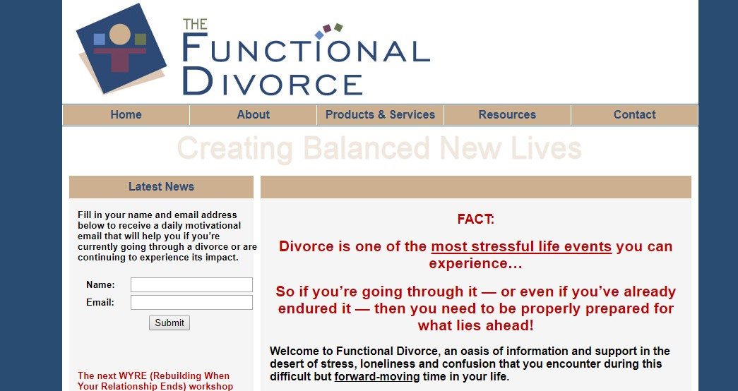 Case study image 1: an image of Karen's first website, Functional Divorce courtesy of the wayback machine