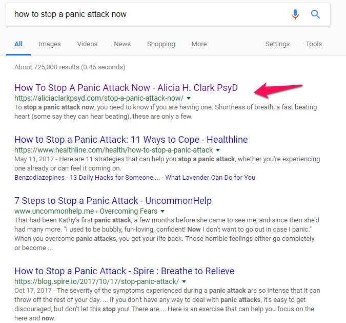 Google search result for how to stop a panic attack now query.